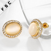 wholesale top design semi-precious stone yellow gold plated alloy magnetic earring for women