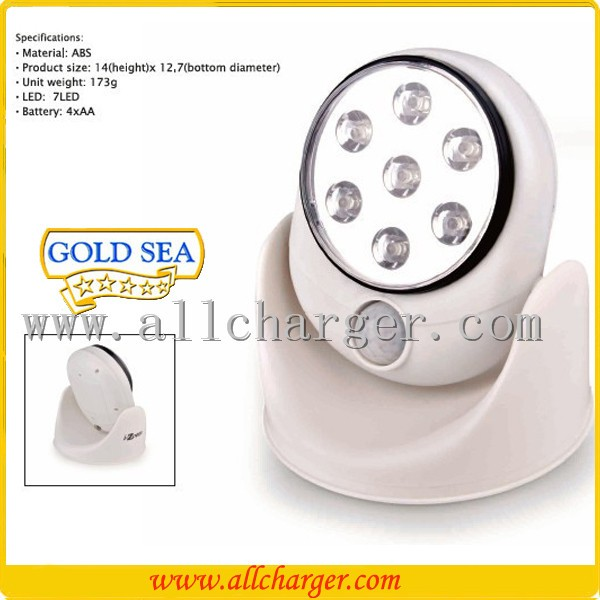 Rotates 360 Degrees Competely wireless and operate 7 LEDs Auto Sensor Motion light / Motion Sensor LED Light