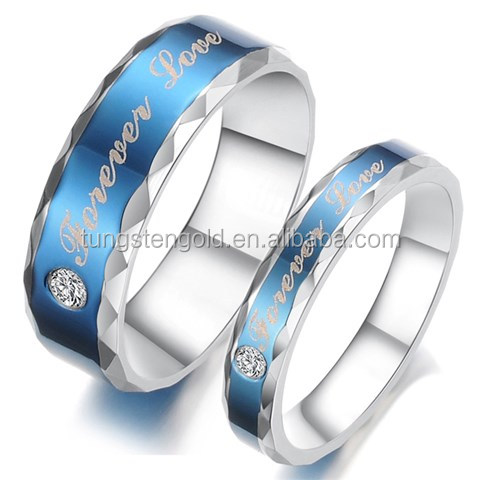 Cheap Price Couple CZ Titanium Stainless Steel Mens Ladies Promise Ring for couples matching