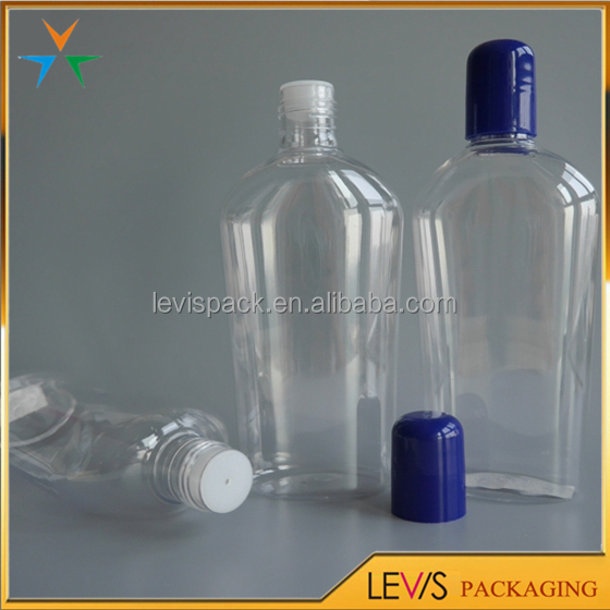 Good quality flat shaped hair oil plastic bottle with screw cap