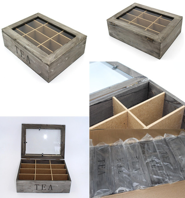 9-Slot Rustic Grey Wood Box Tea Bag Storage Chest with Clear Lid