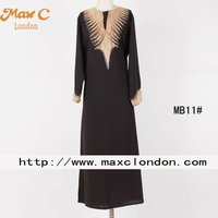 Stone design black dubai crystal beaded abaya fashion 2012
