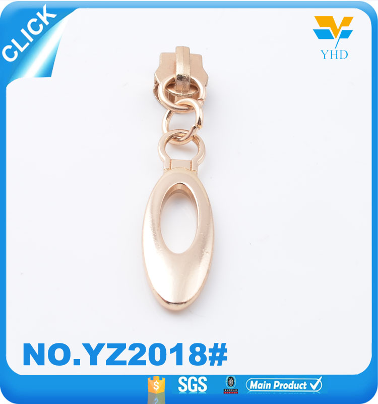 New design fashion bag accessories parts zinc alloy metal zipper puller and slider