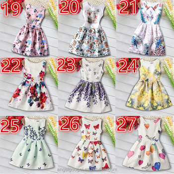 2017 newest fashion latest kids sleeveless A line dress AG-DA0019-27