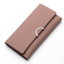 Elegant 2017 bifold PU purse for women ladies long design soft eco-leather silm wallet