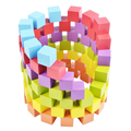 Colorful Wooden Building Blocks Set DIY Wood Cubes Toys- 100 Blocks