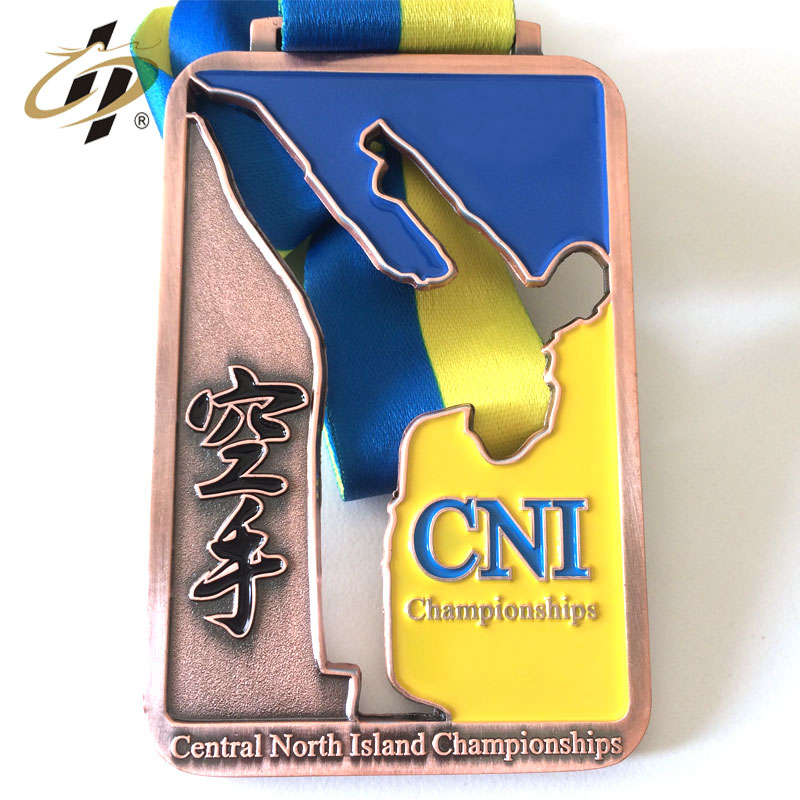 Direct sales cheap custom enameled medallion make metal karate sports medal with ribbon