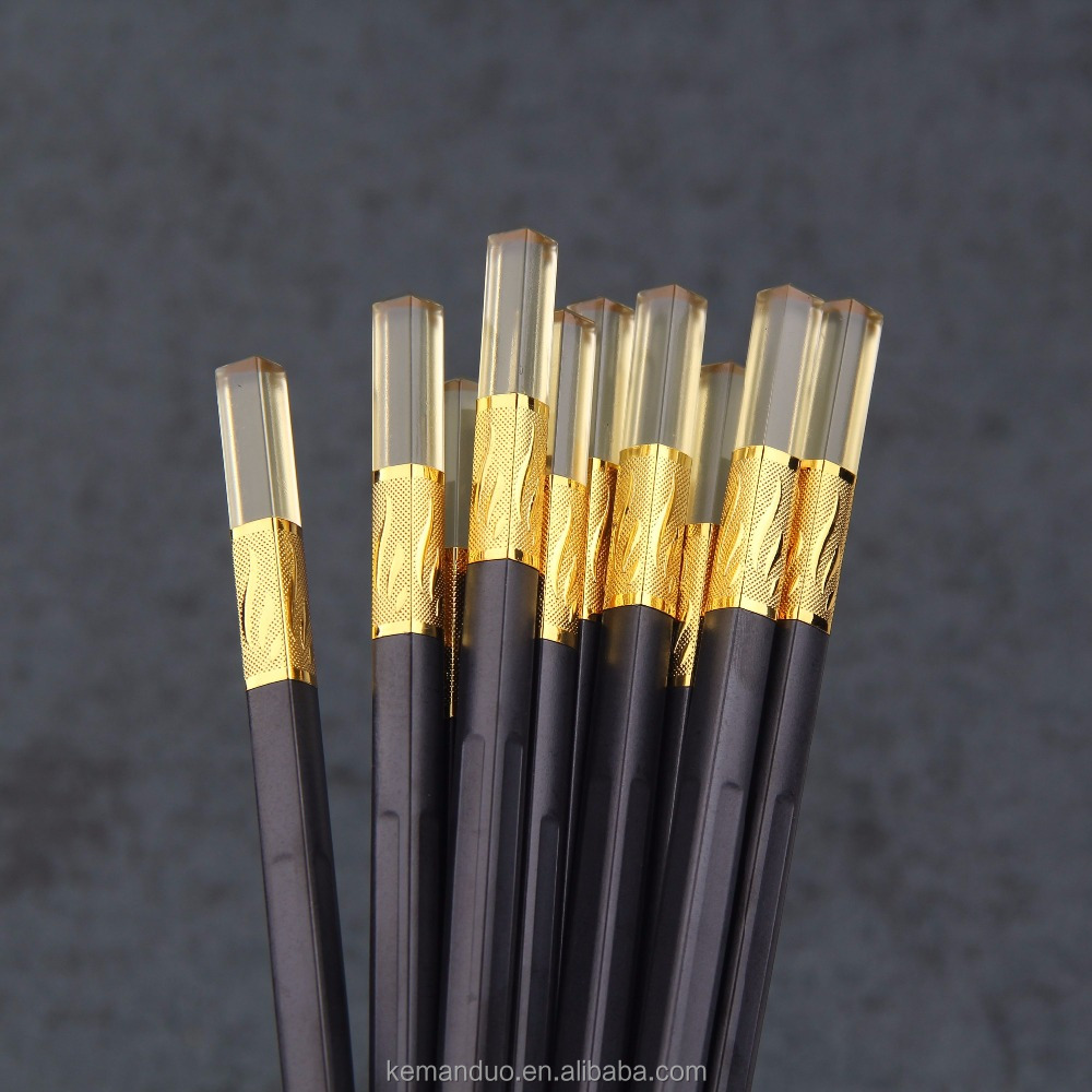 5 Pairs Gold Silver Chinese Chopsticks Fiberglass Alloy Chopstick Eco-Friendly Reusable Chopsticks