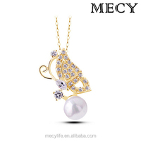 MECY LIFE New Arrival Crystal Butterfly Shaped Artificial Pearl Necklace