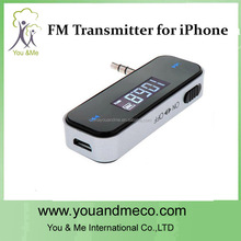 Newest 3.5mm car fm transmitter for galaxy s5 for iphone smart mobile phone fm broadcast transmitter radio station manufacturer