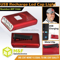 Multi USB Rechargeable Cordless 5 LED Miners Cap Lamp With Metal Clip