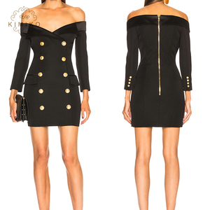 2018 New Fashion Ladies Mini Dress Long Sleeve Black Blazer Dress