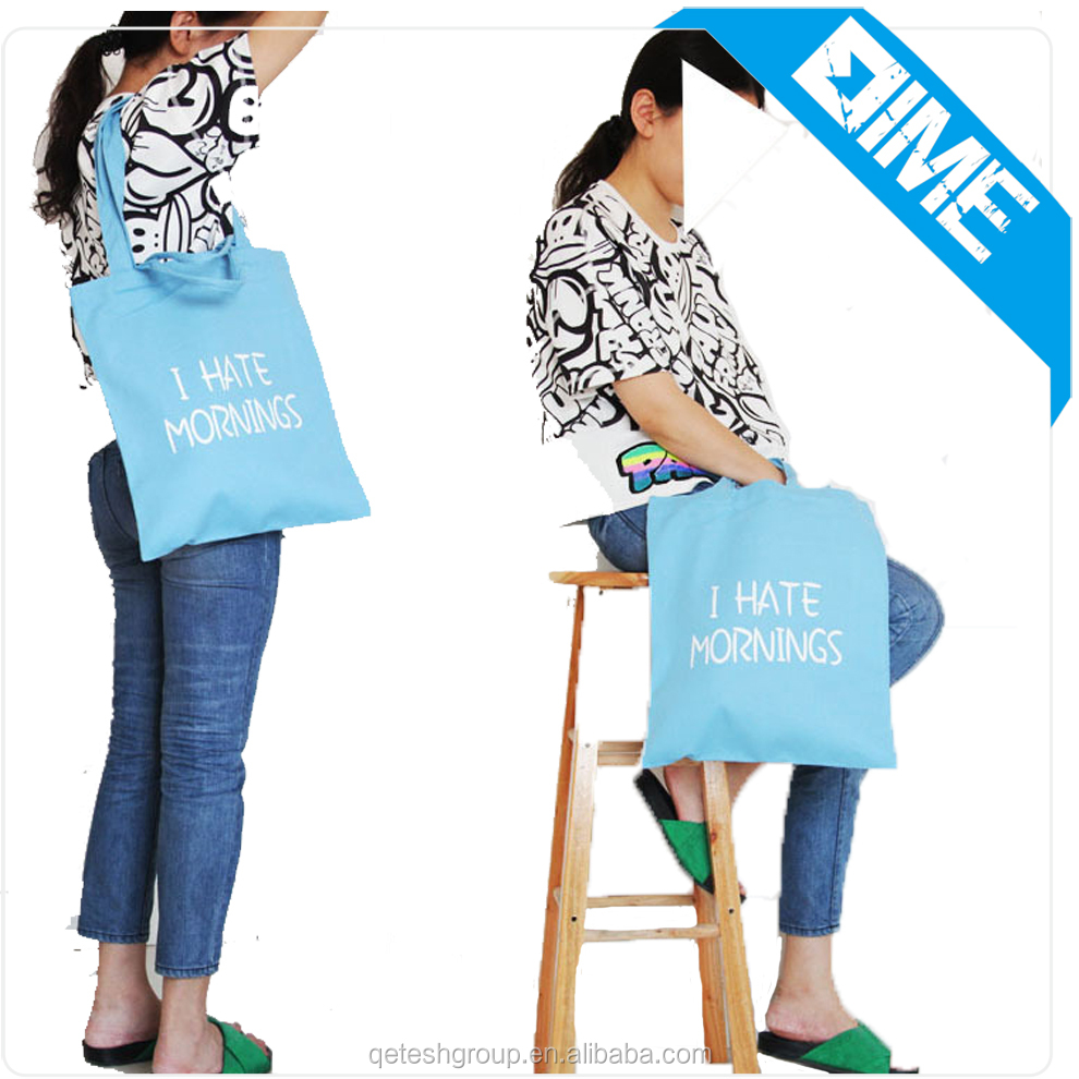 100% Cotton Fabric Tote Bag Custom Printed Cotton Tote Bag With Long Handle