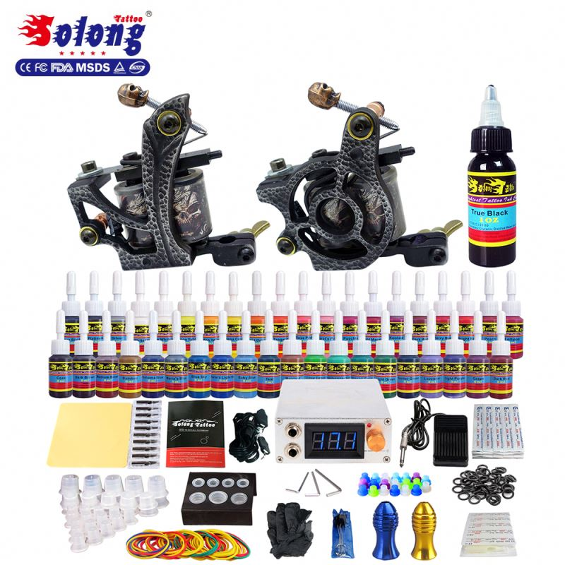 Solong Tattoo Machine Kit Full 3Pro Gun 40Ink Needle Tip Grip Tattoo Kit Professional