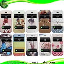 Designing pattern two windons leather design fancy cell phone cases for iphone5