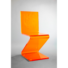 Orange Z shape dining chair acrylic ghost chair with dining room