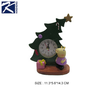 Craft christmas tree decorative desk / table clock with pig