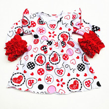 New style love print girls latest princess sweet baby party dress children frocks designs for Valentine's Day clothes