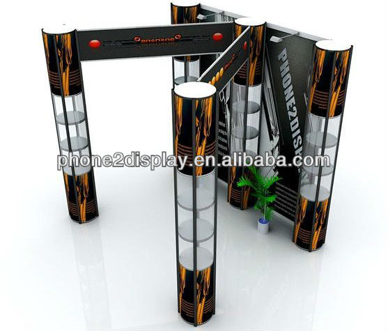 Twist showcase/ display stand Portable Standard Modular Booth with spiral tower stands and fabric banner wall easy set up