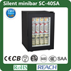 SC-40SA no niose showcase 40L ,glass door thermoelectric minibar, no noise glass door hotel minibar