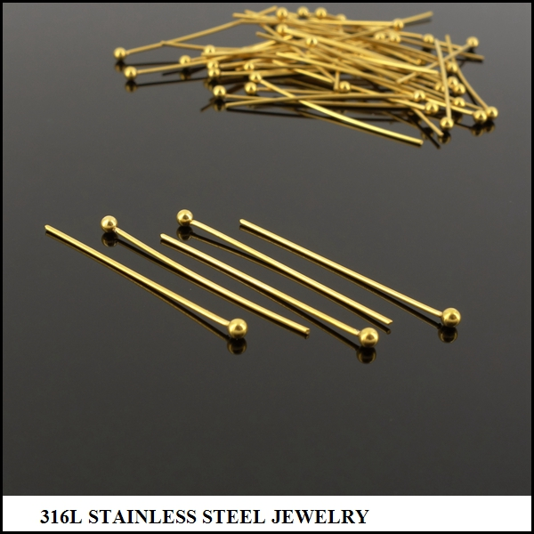 eye pins stainelss steel Gold Plated Headpins&Eyepins with ball 30mm
