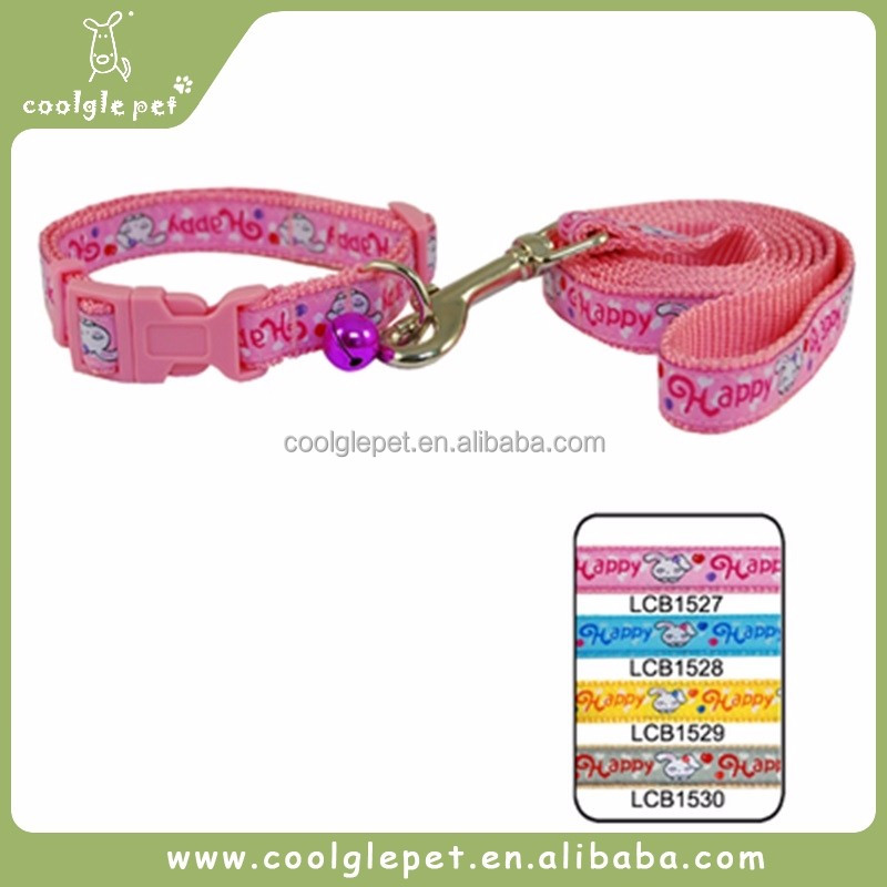 Happy Rabbits Embroidered Design Fabric Dog Collar and Leash in One