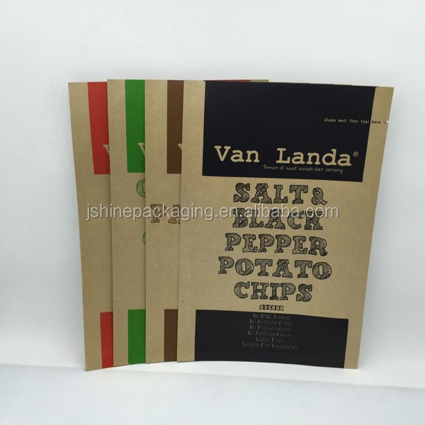 Different flavors potato chip kraft paper paper bags