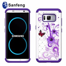 Colorful printing cell phone case for Samsung Galaxy S8 G950 with crystal diamond