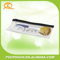 Promotional facotory clear pvc zipper bag for makeup brush