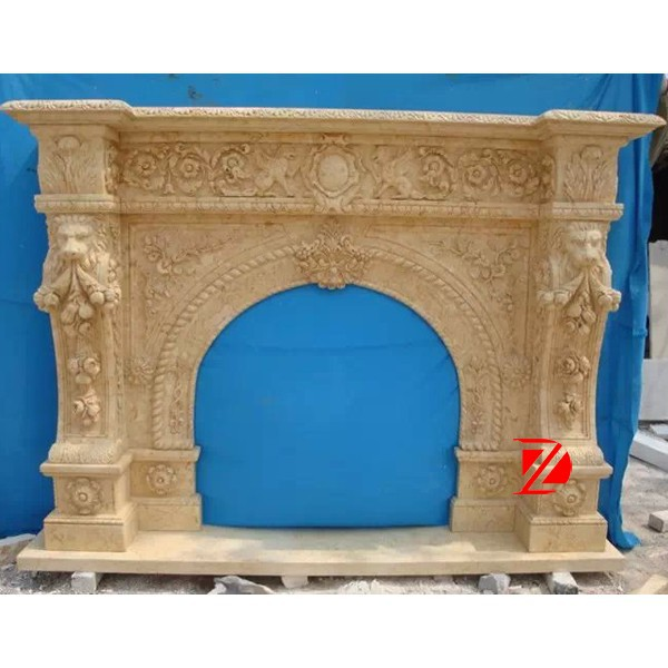 yellow travertine cheap arched stone fireplaces carving