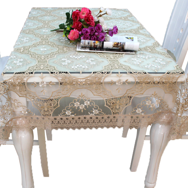 Banquet wedding fancy lace table cloth with the organza