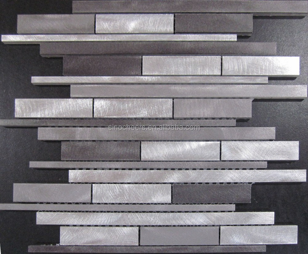 random strip silver brushed aluminum metal backsplash