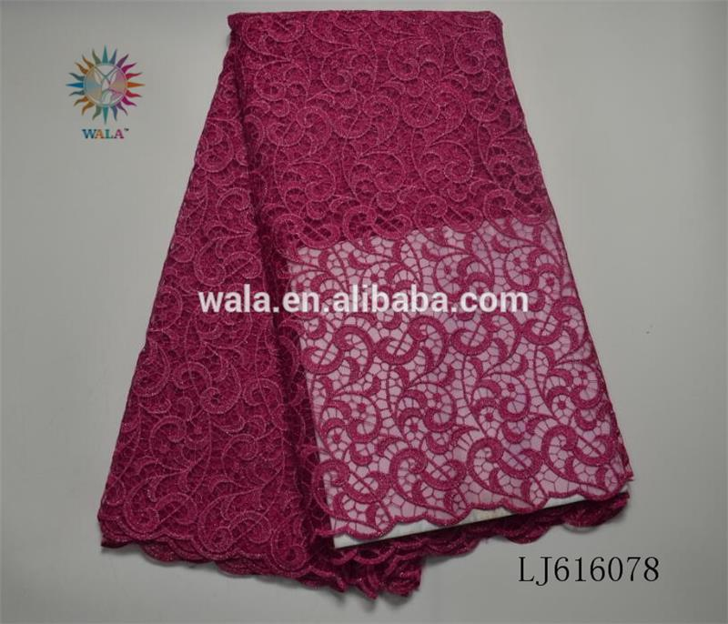LJ616078 fuchsia pink color embroidery african french lace for party