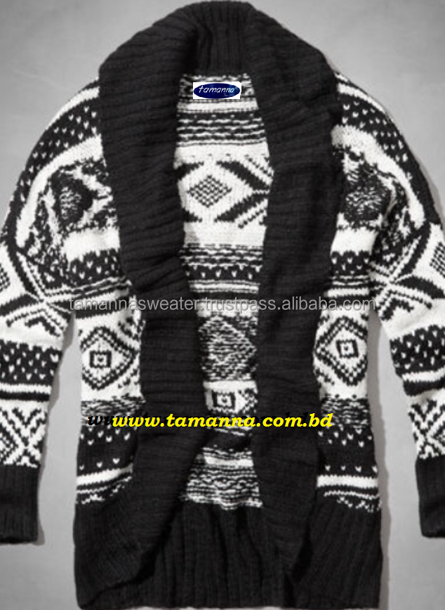 JACQUARD KNITWEAR: LADIES NEW JACQUARD OPEN CARDIGAN SWEATER
