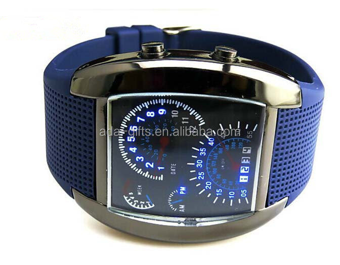 max speed relojs unisex blue car led watch silicone meter watch