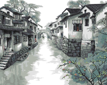 GX8048- 40*50 handmade beautiful scenery oil painting on canvas for Jiangnan town image design pattern decor
