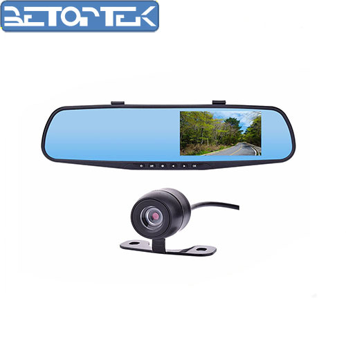 CE certification 4.3 Inch Car Black Box Dual Lens Video Recorder Dash Cam Rearview Mirror Car Camera 1080P HD Car DVR