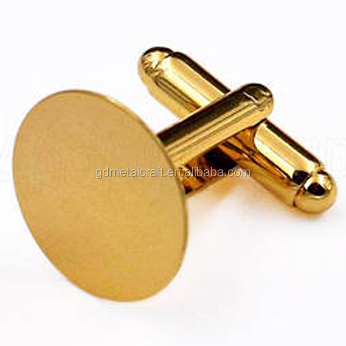 DIY Craft Findings Black Nickle Brass Flat Round Blank Cuff Links For Men