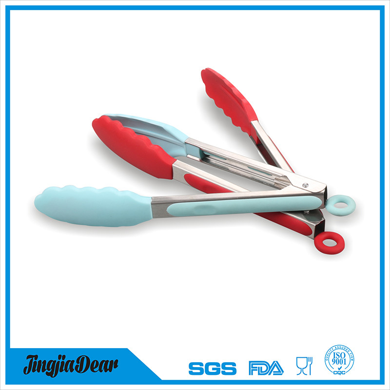 grill bbq tool stainless steel handle silicone food serving tongs salad tongs