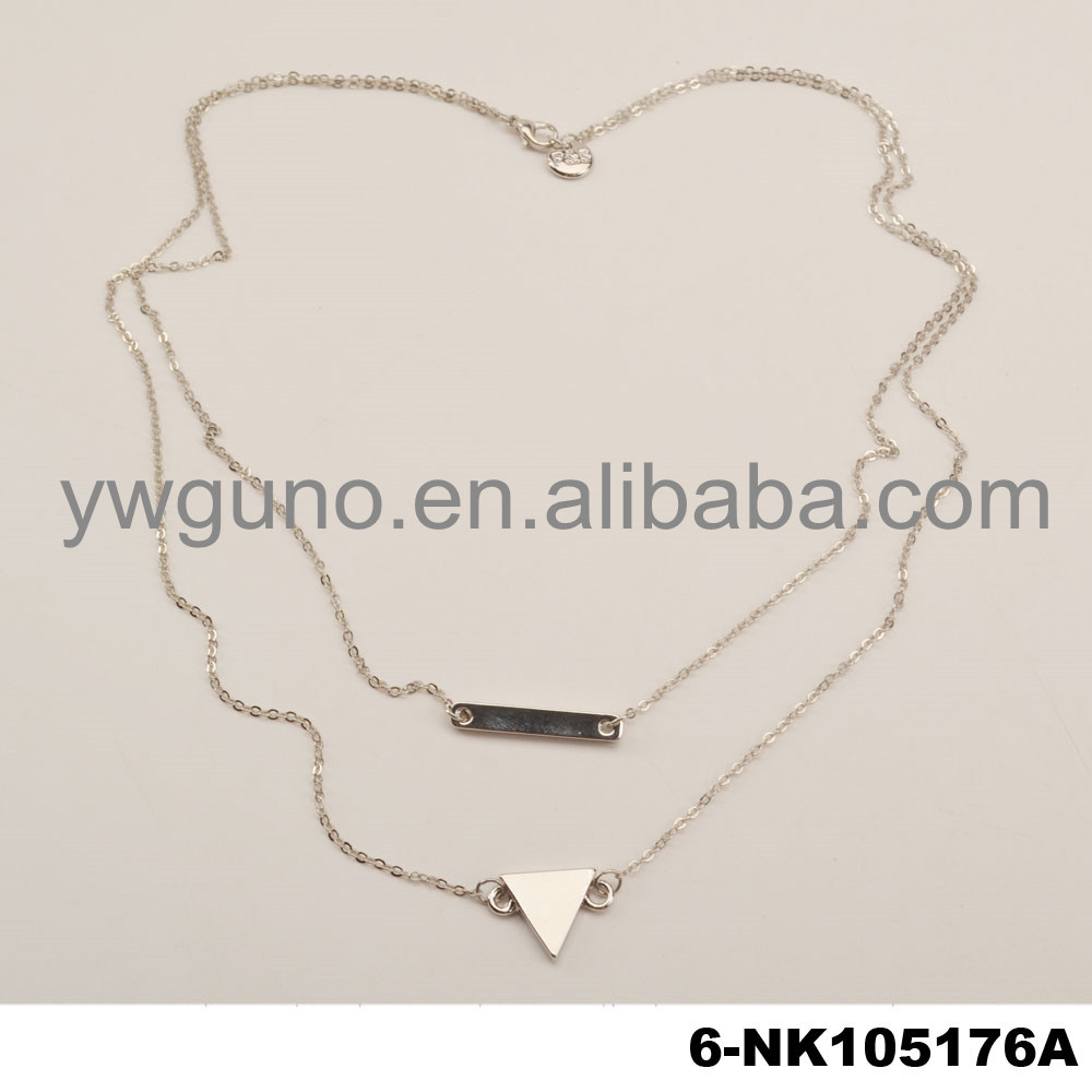 Fashion long multilayer silver chain bar and triangle necklace