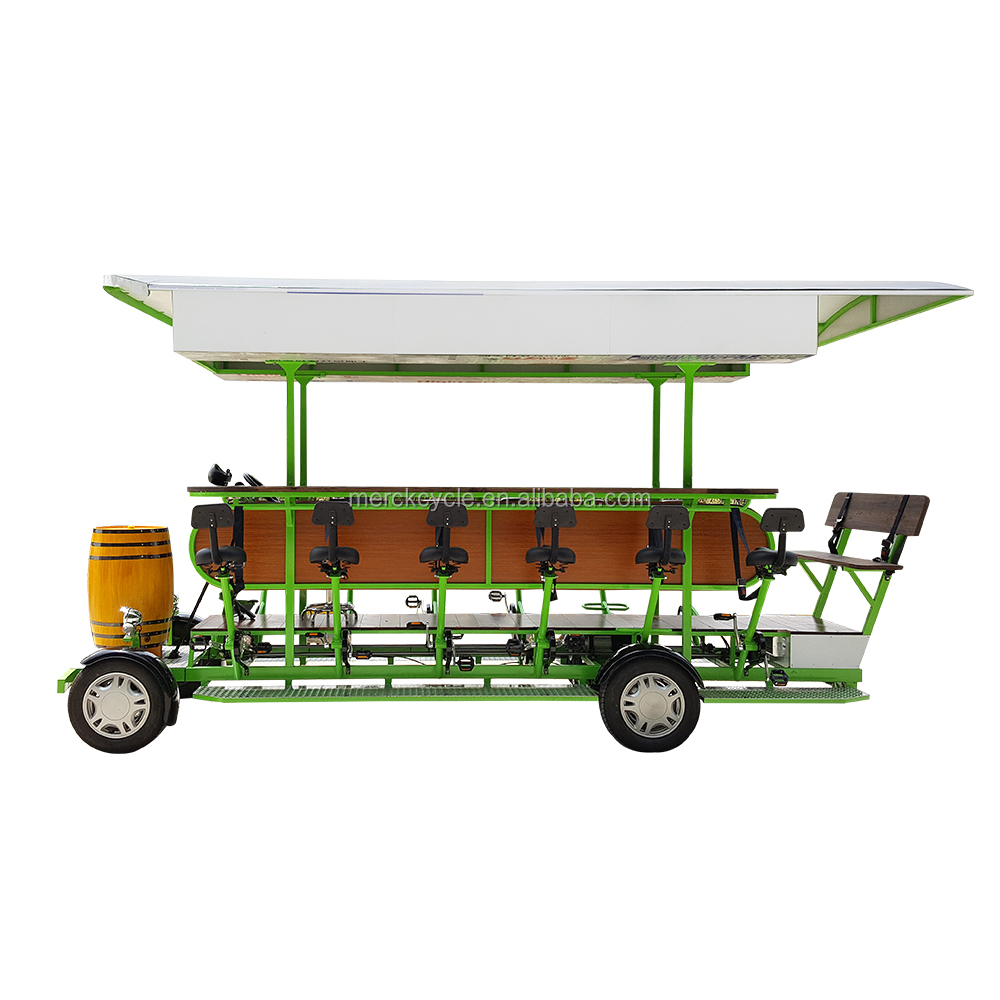 Stylish Galvanized Carbon Steel High Quality Cheap Price City Tour Rentals Pedal Pub, 15 People Electric 4 Wheel Beer Party Bike