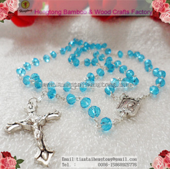 6mm faceted bead sky blue crystal rosary, catholic crystal rosary necklace