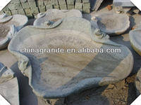 Chinese hand carved natural stone lotus leaf frog birdbath