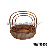round wicker long handled basket