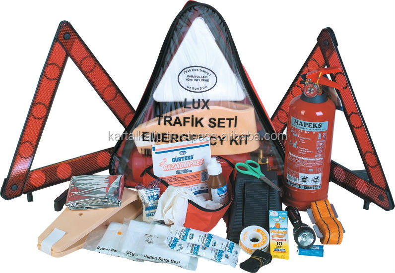 Eagle Full Fabric Triangle Car Emergency kit with 1kg Fire Extinguisher and 2pcs Warning Triangle