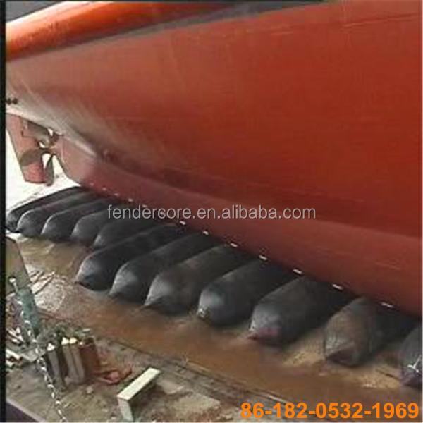 Pneumatic air-bags for refloating or wrecked ships