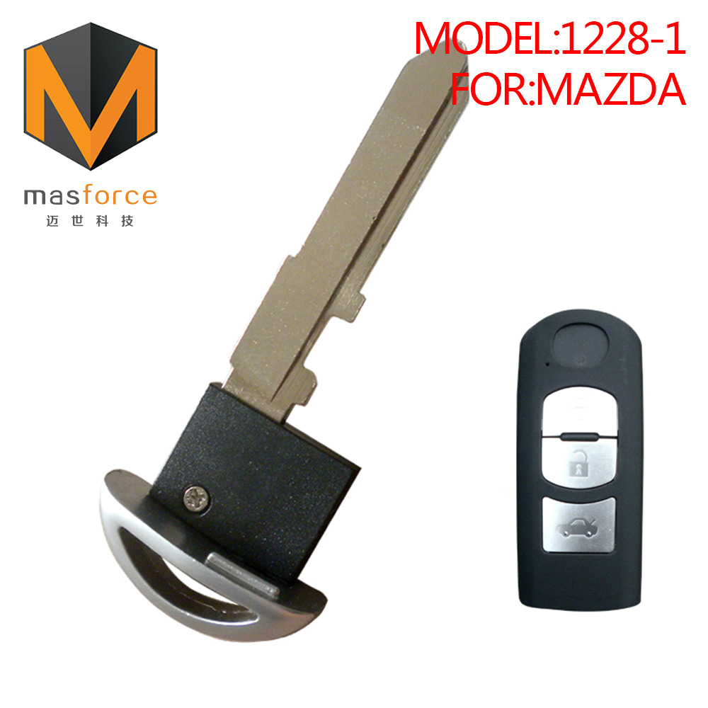 Emergency small blank blade of replacement shell auto smart card remote control case car key cover for Mazda