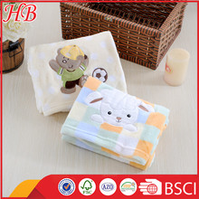 embroidered animal printed coral fleece comfortable knitted baby blanket
