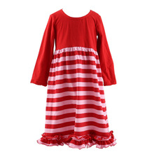 Hot selling red designer one piece party dress striped red dresses for wedding kids evening gowns Valentines boutique long dress