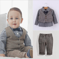 2015 European style gentleman boy clothing set bowtie shirt+vest+pant 3 piece for spring clothing